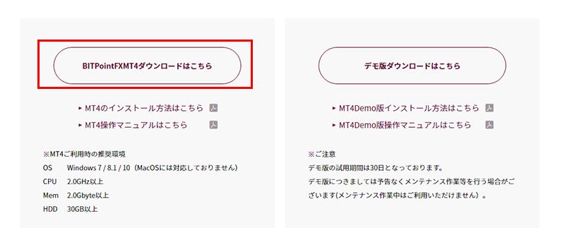 BITPoint公式サイト内のMT4ダウンロードページの画面