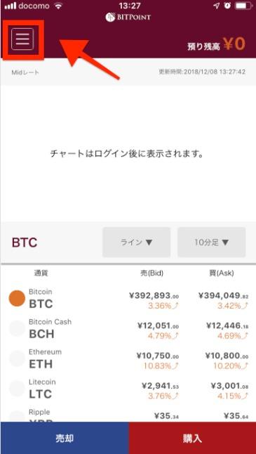 BITpointLiteスマホアプリのメニュー表示