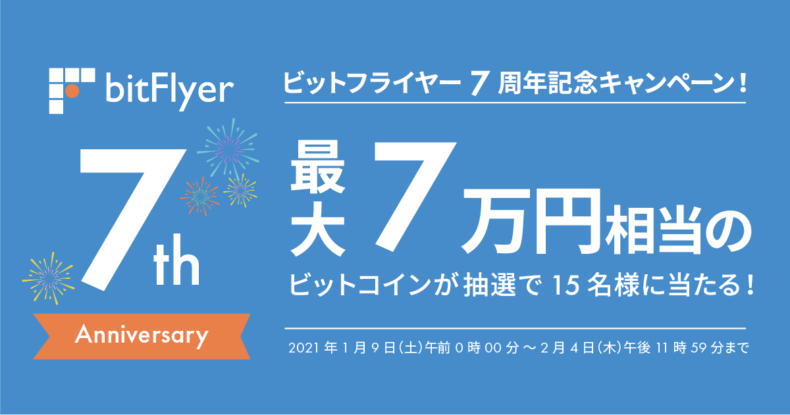 bitFlyer7周年記念!抽選で15名様に最大7万円相当のビットコインが当たるキャンペーン