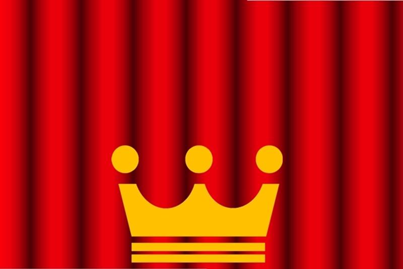赤い舞台幕と王冠