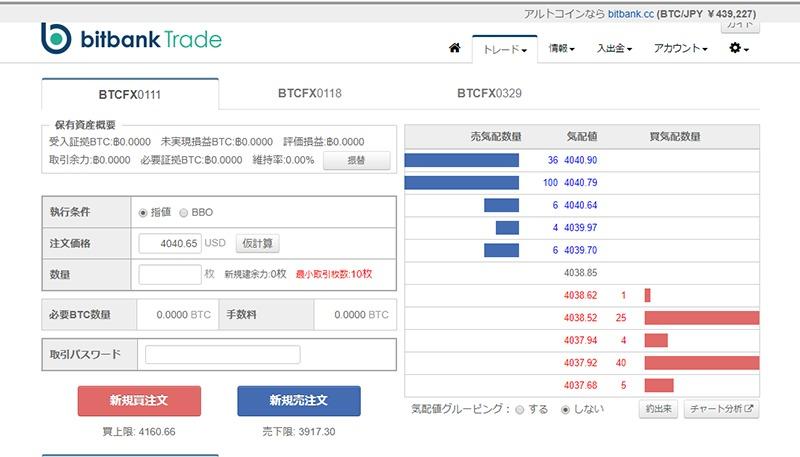 bitbankTradeの取引画面
