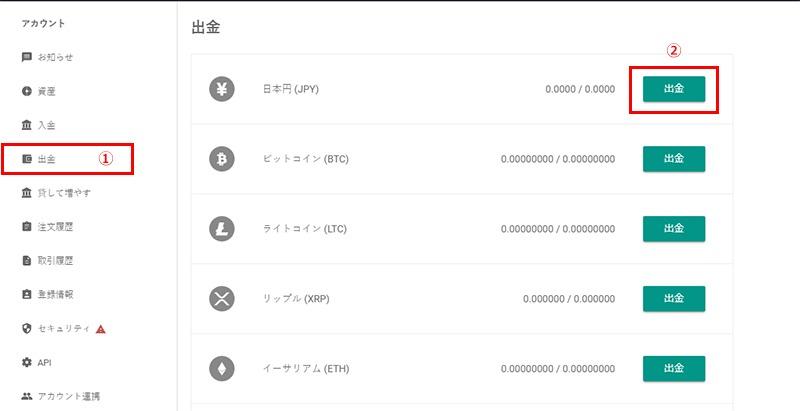 日本円の出金手順①