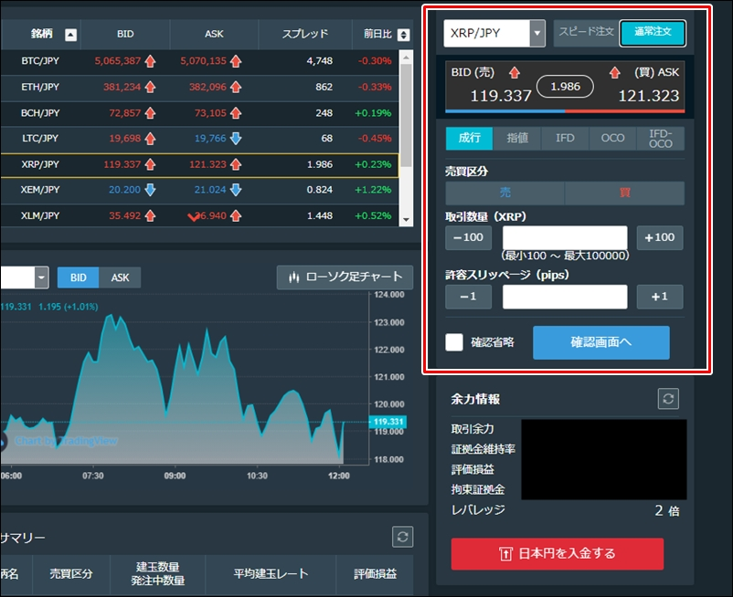 暗号資産FXの通常注文画面