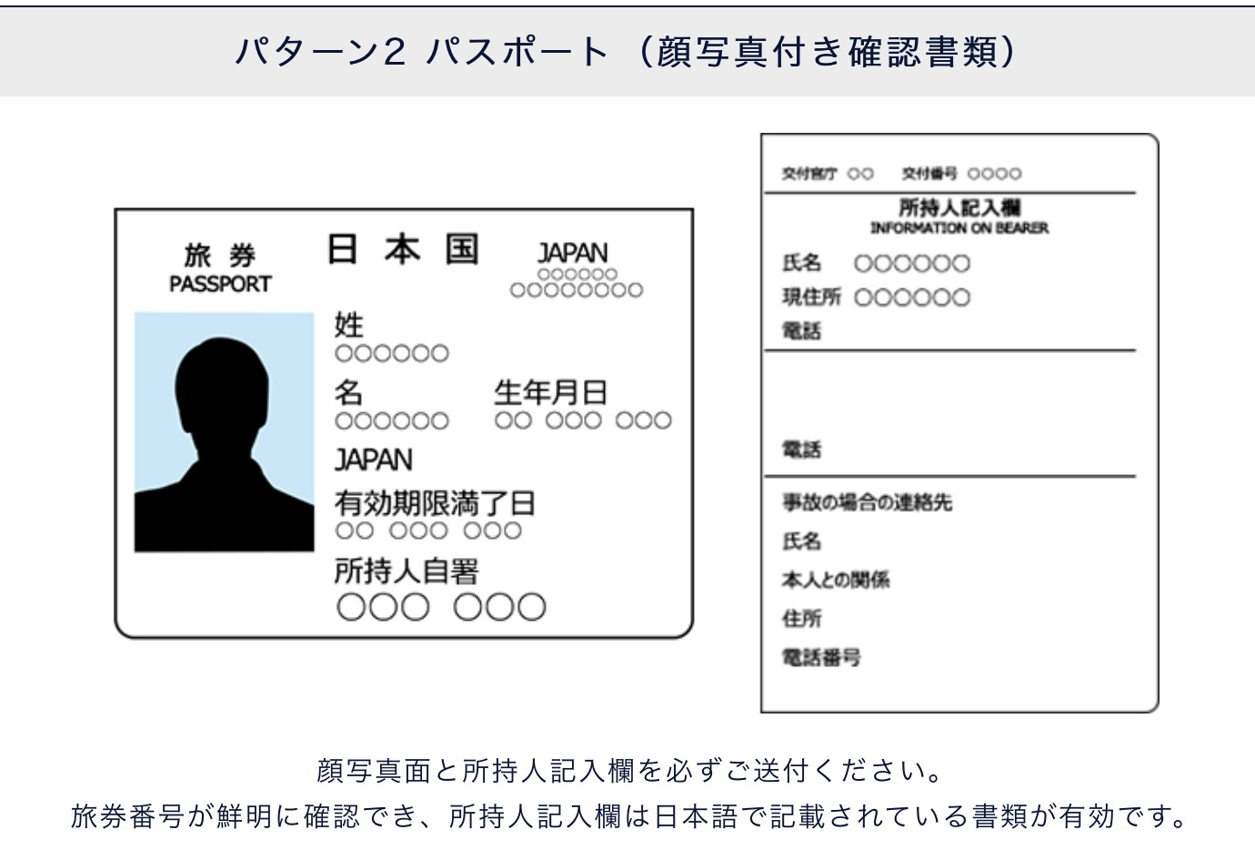 パスポートをアップロード