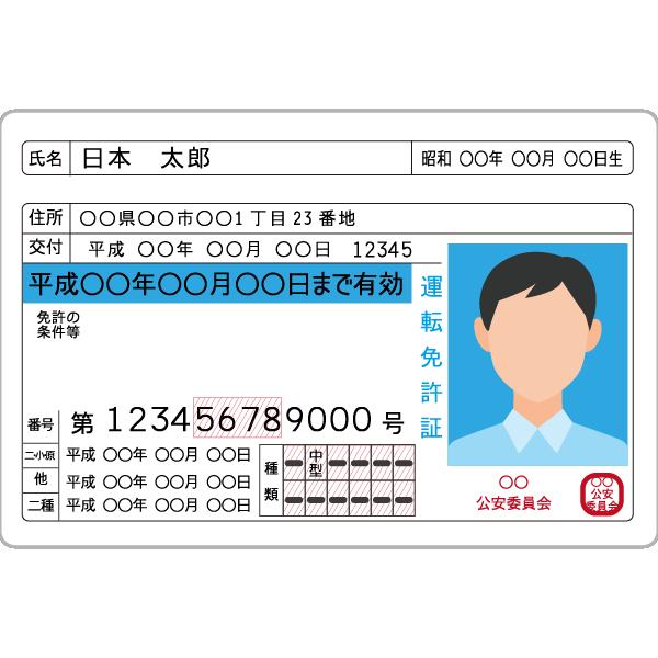 運転免許書の例